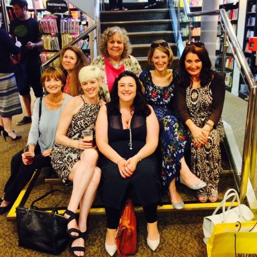 (l-r) Liz Harris, Pia Courtney, Talli Roland, Lizzie Lamb, Rowan Coleman, Julie Cohen and Adrienne Vaughan all pictured at Liz Fenwick's book launch at Waterstones, Kensington High Street.