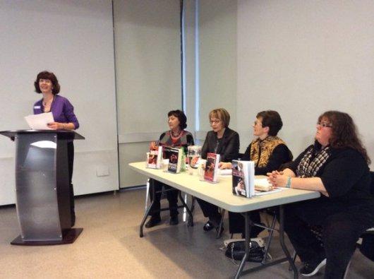 At podium: Deb Quaile L-R: Donna Warner, Gloria Ferris, Joanne Guidoccio, Alison Bruce